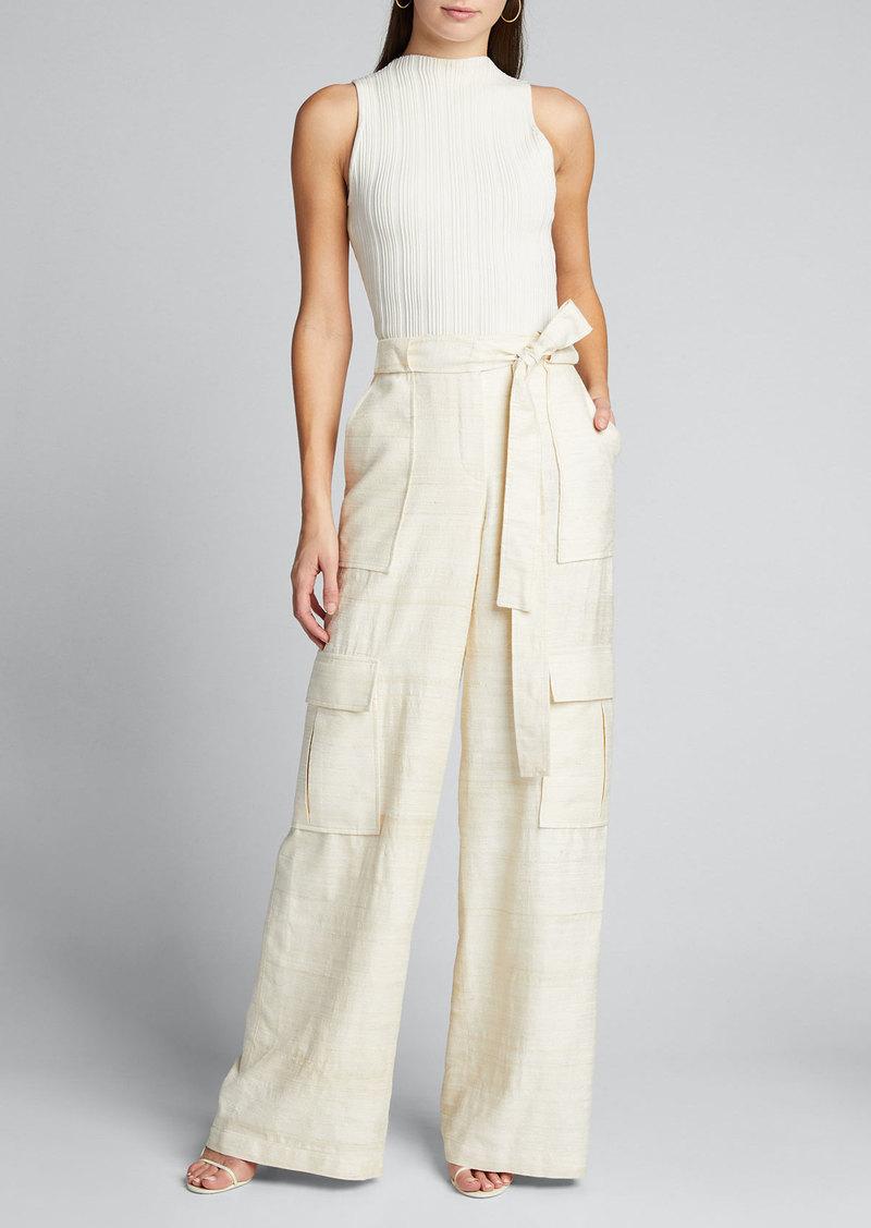 Oscar de la Renta Silk Double-Pocket Cargo Pants
