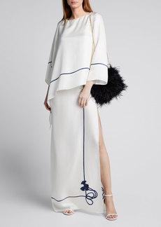 Oscar de la Renta Silk Draped Overlay Rope Trim Skirt Caftan