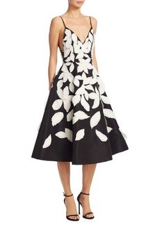 Oscar de la Renta Silk Leaf Dress