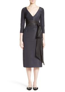 Oscar de la Renta Silk Moiré Cocktail Dress