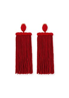 Oscar de la Renta Silk Tassel Waterfall Clip-On Earrings