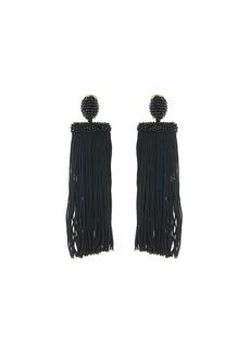Oscar de la Renta Silk Waterfall Tassel Clip-On Earrings