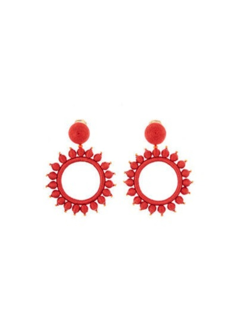 Oscar de la Renta Silk-Wrapped Circular Clip-On Earrings