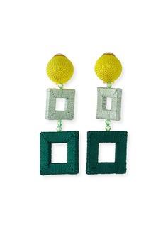Oscar de la Renta Silk-Wrapped Double-Square Clip-On Earrings