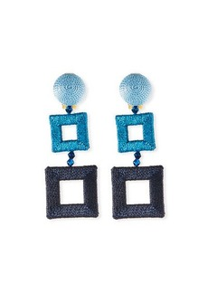 Oscar de la Renta Silk-Wrapped Double-Square Clip-On Earrings