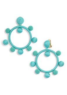 Oscar de la Renta Silken and Beaded Ball Hoop Earrings