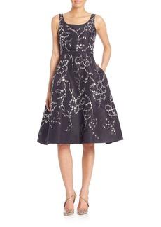 Oscar de la Renta Silver Floral-Embellished Silk Cocktail Dress