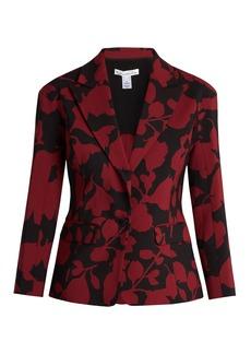 Oscar De La Renta Single-breasted floral-brocade jacket