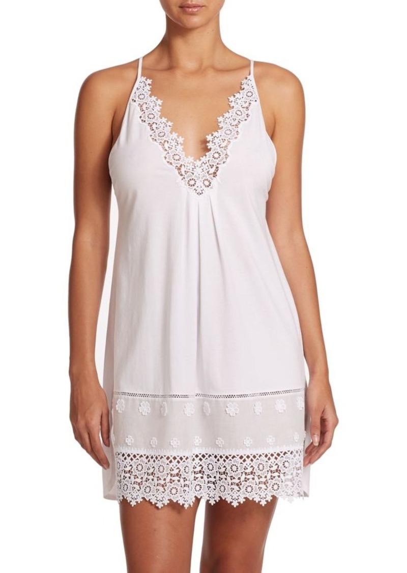 Oscar de la Renta Sleepwear Lace-Trimmed Jersey Gown