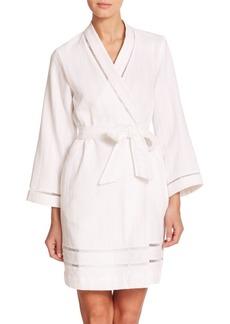 Oscar de la Renta Sleepwear Luxe Spa Short Cotton Robe