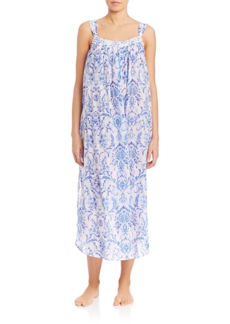 Oscar de la Renta Sleepwear Printed Cotton Signature Long Gown