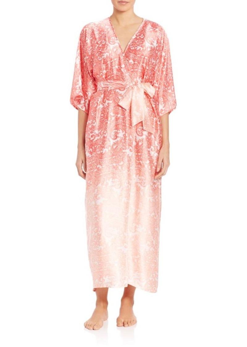 Oscar de la Renta Sleepwear Printed Satin Robe