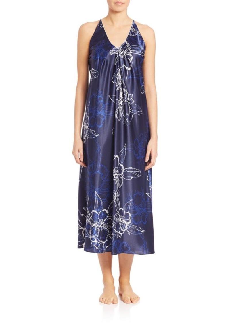 Oscar de la Renta Sleepwear Printed Satin Signature Long Gown