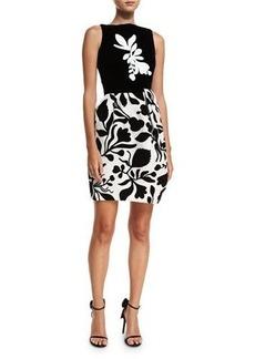 Oscar de la Renta Sleeveless Bold Floral Dress