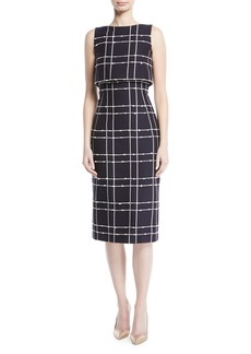 Oscar de la Renta Sleeveless Check-Tweed Sheath Dress