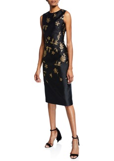 Oscar de la Renta Sleeveless Cocktail Dress with Embroidered Leaves