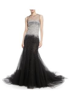 Oscar de la Renta Sleeveless Embellished Tulle Evening Gown