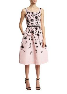 Oscar de la Renta Sleeveless Floral Fit-&-Flare Midi Dress