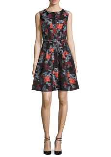 Sleeveless Floral Jacquard A-Line Dress