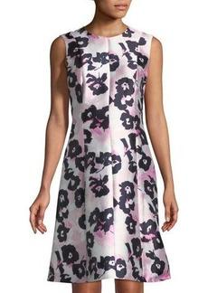 Oscar de la Renta Sleeveless Floral-Mikado A-Line Dress