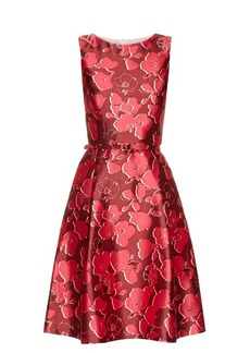 Oscar De La Renta Sleeveless floral-print mikado dress