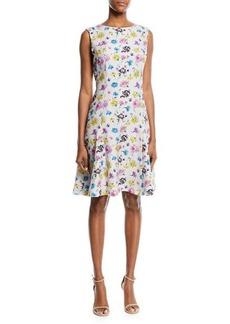 Oscar de la Renta Sleeveless Floral-Print Silk Matelasse A-Line Dress
