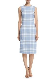 Oscar de la Renta Sleeveless High-Neck Plaid Wool Sheath Midi Dress