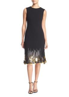 Oscar de la Renta Sleeveless High-Neck Wool Sheath Dress w/ Paillette Hem