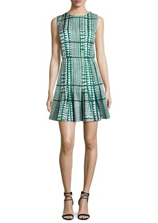 Oscar de la Renta Sleeveless Houndstooth Fit & Flare Dress
