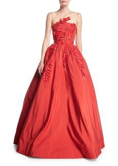 Oscar de la Renta Sleeveless Illusion-Neck Evening Ball Gown w/ Floral Appliques