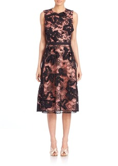 Oscar de la Renta Sleeveless Lace Embroidered Cocktail Dress