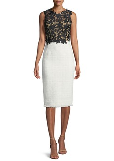Oscar de la Renta Sleeveless Lace-Top Tweed Skirt Sheath Dress