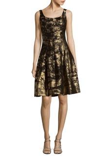 Oscar de la Renta Sleeveless Metallic Fit-&-Flare Dress