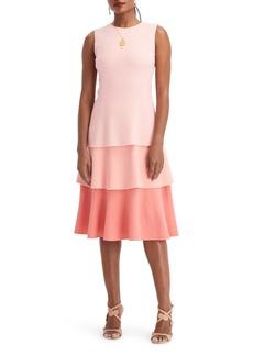 Oscar de la Renta Sleeveless Ruffled Wool Crepe Midi Dress