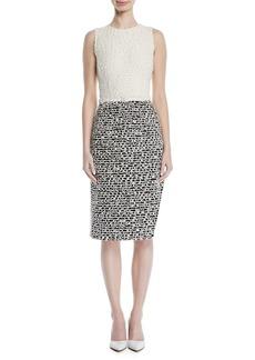 Oscar de la Renta Sleeveless Scribble-Knit Sheath Dress
