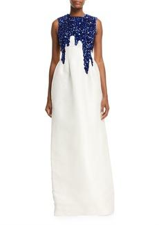 Oscar de la Renta Sleeveless Sequin-Embroidered Faille Gown