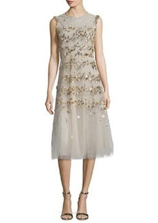 Oscar de la Renta Sleeveless Sequin-Embroidered Tulle Cocktail Dress