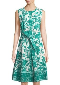 Oscar de la Renta Sleeveless Toile-Print Cotton A-line Dress