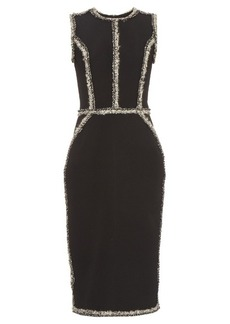 Oscar De La Renta Sleeveless tweed-trimmed pencil dress
