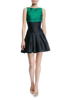 Oscar de la Renta Sleeveless Two-Tone Jacquard Dress