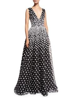 Oscar de la Renta Sleeveless V-Neck Gown w/Floral-Embroidered Overlay