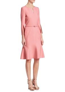 Oscar de la Renta Slit-Sleeve Belted Flounce Dress