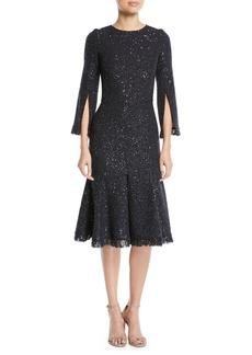 Oscar de la Renta Slit-Sleeve Sequin Cocktail Dress