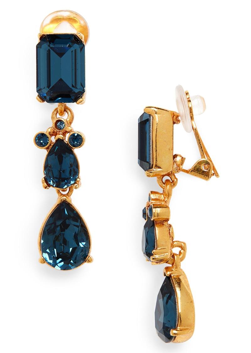 Oscar de la Renta Small Classic Crystal Drop Earrings