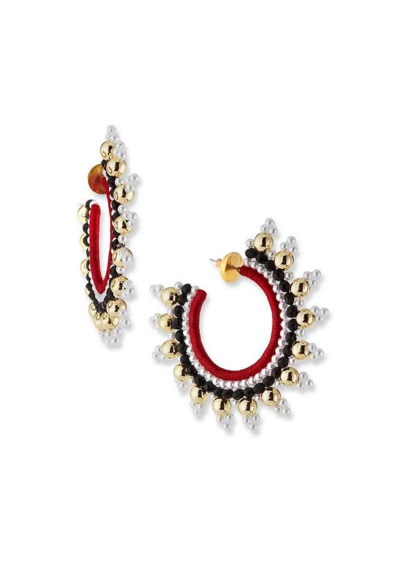 Oscar de la Renta Small Embellished Hoop Earrings