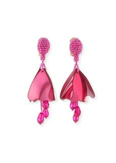 Oscar de la Renta Small Impatiens Beaded Clip-On Earrings  Pink