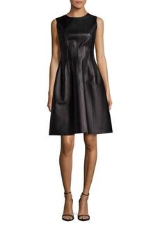 Oscar de la Renta Solid Leather Sleeveless Dress
