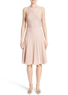 Oscar de la Renta Sparkle Knit Pleated Dress