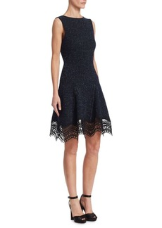 Oscar de la Renta Speckled Sleeveless Lace-Knit A-Line Dress