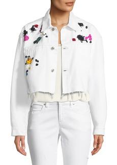 Oscar de la Renta Splatter-Embroidered Denim Jacket